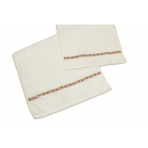 Cotton Terry Hand Towel with ribbon border design