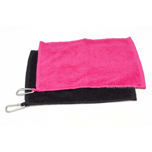 Small Plain Color Cotton Hand Towel with Carabiner