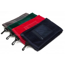 High Quality Plain Color Golf Towel with Mesh Zipper Bag