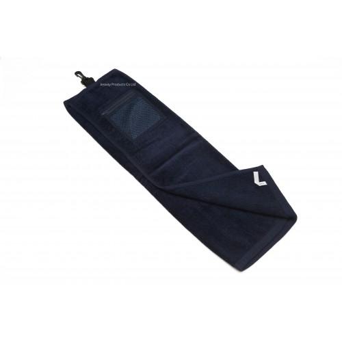 High Quality Plain Color Golf Towel with Mesh Zipper Bag (Navy)