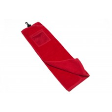 High Quality Plain Color Golf Towel with Mesh Zipper Bag (RED)