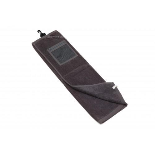 High Quality Plain Color Golf Towel with Mesh Zipper Bag (Grey)