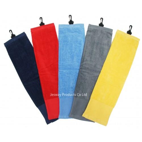 Solid Color Wide Border Mesh Pocket Golf Towel