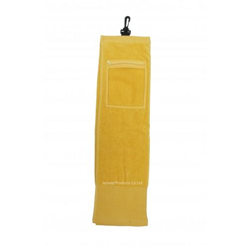 Solid Color Wide Border Mesh Pocket Golf Towel (Yellow)