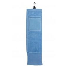Solid Color Wide Border Mesh Pocket Golf Towel (Blue)