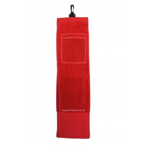 Solid Color Wide Border Mesh Pocket Golf Towel (Red)