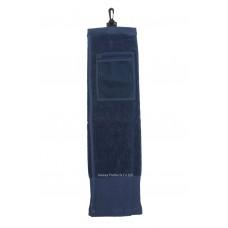 Solid Color Wide Border Mesh Pocket Golf Towel (Navy)