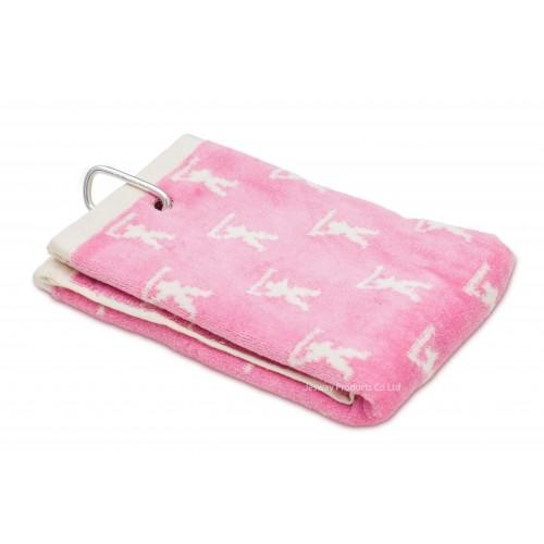 Jacquard Woven Pattern Golf Towel (Pink)